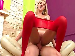 Anal Blonde Teen In Red Tights