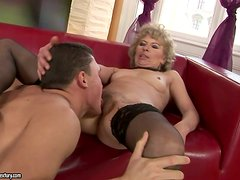 Amazingly Randy Granny Eager to Be Pounced by a Stud