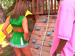 Cheerleader Katie Cummings is getting a lusty backyard practice for her horny pussy with black stud