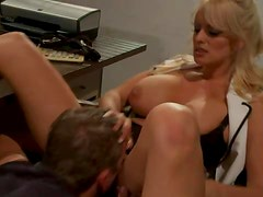 Busty office blonde fucks younger man