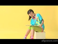 Colorful outfit on an adorable Japanese teen