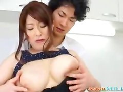 Busty Milf Getting Her Tits Rubbed Sucking Schoolguy Cock In The Kitchen