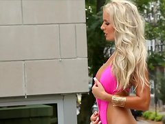 Mikaela James the hot blonde in pink swimsuit poses for the cam