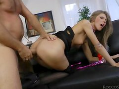 Abby H welcomes Rocco Siffredi's dick in her tight asshole