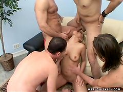 Hot gangbang for a lusty blondie Emily in her place