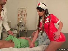 Sexy nurse Imogene gets enjoys hot DP. Backstage video