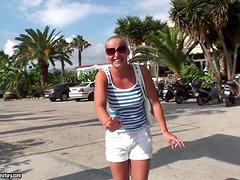 Kathia Nobili shows off her tits and goes for a vacation