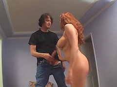 Long red hair on a hot milf he taps from behind