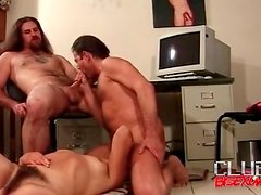 Hairy guys in bisexual cocksucking and fuck video