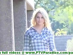 Chloe incredibly hot blonde flashing and toying pussy in public and walking naked outdoors