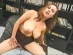 Curvy girl sits sensually on his hard cock