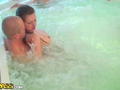 Chicks get fucked in the hot tub at Sauna