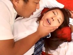 Japanese schoolgirl gets her pussy fingered and fucked hard