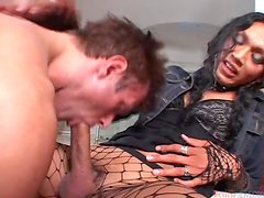Naughty brunette transsexual babe fucks a guy in the ass