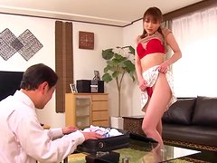 Bored housewife Akari Hoshino gets covered in a sea of spunk