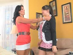 Mother Teaching her naughty Daughter How To Suck Cock