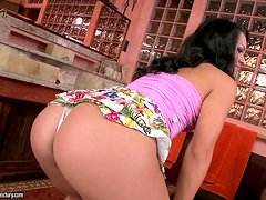 Sandra Rodriguez entertains herself by toying her cute pussy
