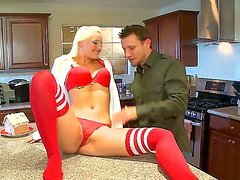 Arousing blonde Macy Cartel teases hunk into deep fucking her wet pussy