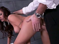 Busty brunette Amy Ried pleases hunk Charles Dera with hot deepthroat and hardcore fuck session