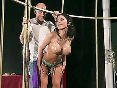 Johnny Sins is motivating voluptuous Aleksa Nicole with his lusty hands and oil