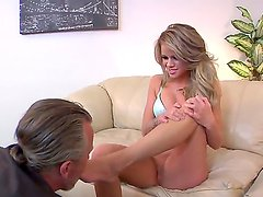 Enjoy foot fetish scene with mind-blowing steamy blonde chick Jessa Rhodes and Tom Byron