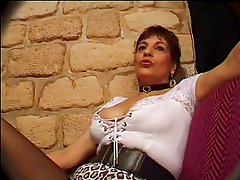 FRENCH MATURE n26 brunette anal mom gangbang in club