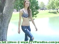 Kourtney innocent young brunette girl with natural tits undressing and exercising outdoors