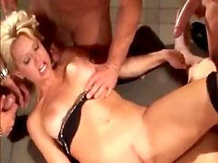 Guys cum on her face as she does anal