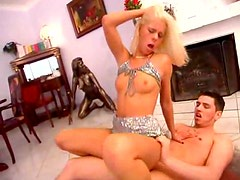 Petite chick in sparkly outfit laid hardcore