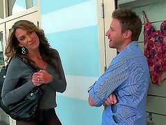 Amazing scene with sexy and gorgeous milf who begins a crazy action in the car
