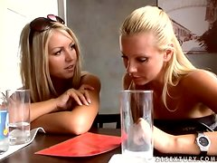 Hot blonde girl goes to the toilet and then talks to her friend