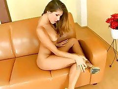 Blond does a striptease and feels herself