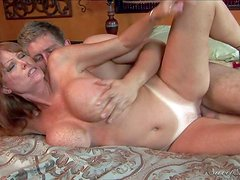 Horny as hell cougar Darla Crane with sexy tanlined ass