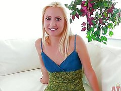 Arousing innocent looking pale petite blonde