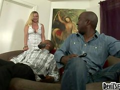 Lusty Desire Kummin gets double penetrated by two black ones