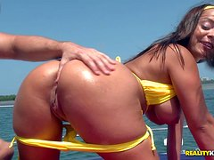 Brunette Liza Del Sierra with perfect round ass and huge