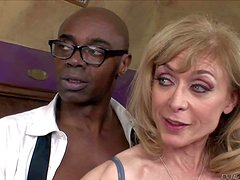 Sex obsessed mature woman Nina Hartley in stockings gets her