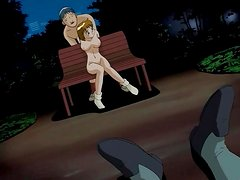 Girl bound in the park and fucked in hentai pussy