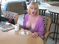 He fucks his mature housewife in kitchen