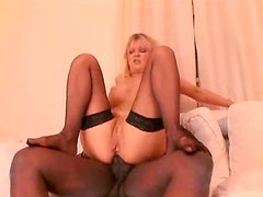 Milf in stockings goes anal with big black cock
