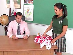 Teacher with huge dick is fucking his latina babe