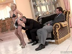 Lewd blonde Myra Lyon fucks two guys and gets cum on her face