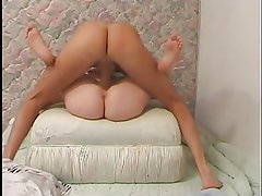 Cute blond bimbo getting her holes rammed