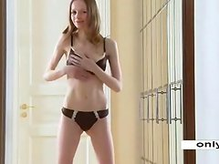 Skinny Teen Gloria with tight holes wide hopen