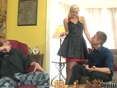 Father and son fucks sexy Molly Rae after playing chess