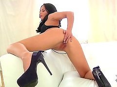Beautiful and glamorous Kristall Rush aka Aurelly Rebel takes off the pink panties and gets pleasure