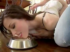 Dominated girl in corset spanked and sucking