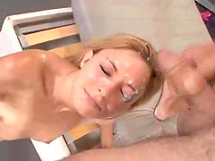 Skinny girl goes down the line sucking big cock