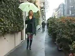 Skirt and boots babe flashes in public