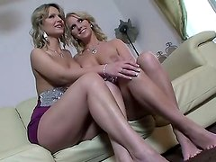 A backstage with two luxury blonde ladies Eve Sweet and Samantha Jolie